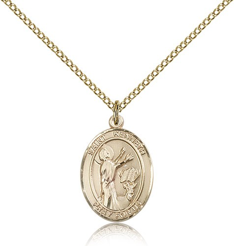 St. Kenneth Medal, Gold Filled, Medium - Gold-tone