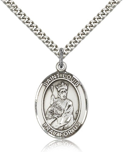 "St. Louis Medal, Sterling Silver, Large - 24"" 2.4mm Rhodium Plate Chain + Clasp"