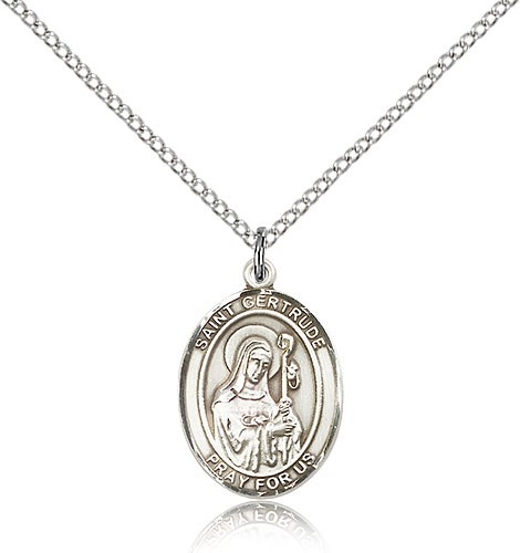 "St. Gertrude of Nivelles Medal, Sterling Silver, Medium - 18"" 1.2mm Sterling Silver Chain + Clasp"