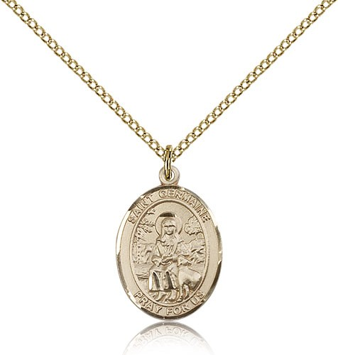 St. Germaine Cousin Medal, Gold Filled, Medium - Gold-tone