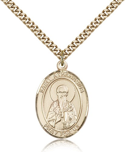 "St. Athanasius Medal, Gold Filled, Large - 24"" 2.4mm Gold Plated Chain + Clasp"