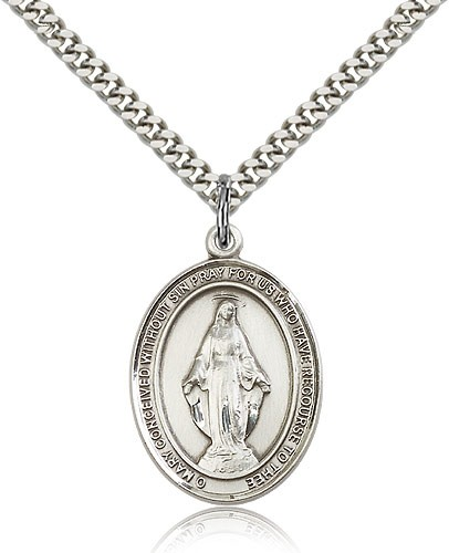 "Miraculous Medal, Sterling Silver, Large - 24"" 2.4mm Rhodium Plate Chain + Clasp"
