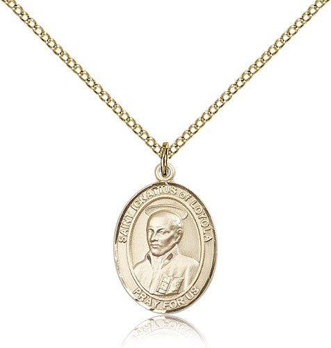 St. Ignatius of Loyola Medal, Gold Filled, Medium - Gold-tone