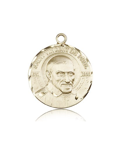 St. Vincent De Paul Medal, 14 Karat Gold - 14 KT Yellow Gold