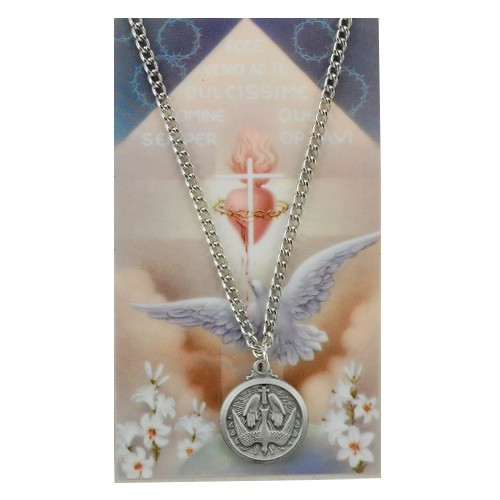 Round Holy Spirit Medal and Prayer Card Set - Silver-tone