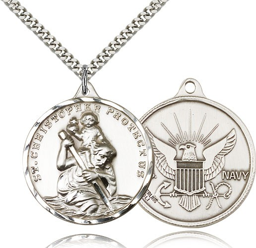 "Large St. Christopher Navy Medal, Sterling Silver - 24"" 2.4mm Rhodium Plate Endless Chain"