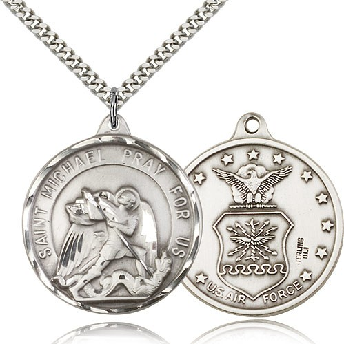 "St. Joseph Air Force Medal, Sterling Silver - 24"" 2.4mm Rhodium Plate Endless Chain"