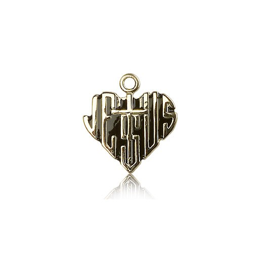 Heart of Jesus Cross Pendant, 14 Karat Gold - 14 KT Yellow Gold
