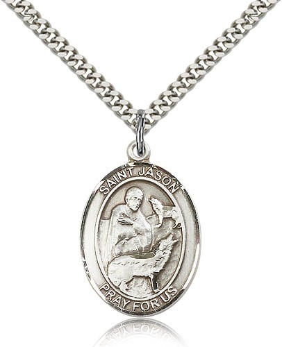 "St. Jason Medal, Sterling Silver, Large - 24"" 2.4mm Rhodium Plate Chain + Clasp"