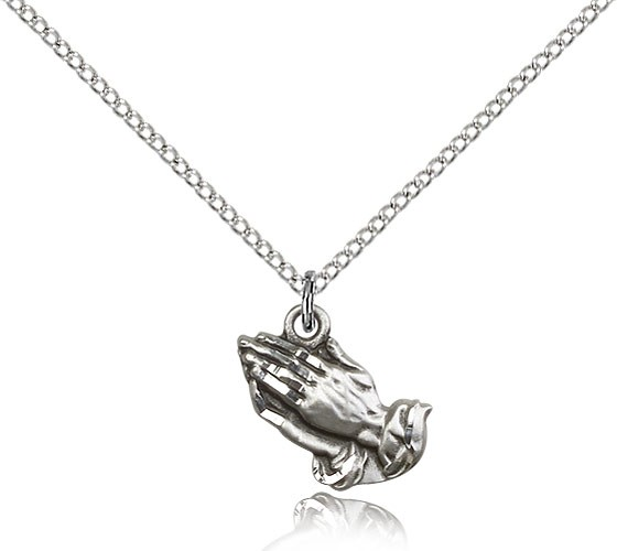 "Praying Hands Medal, Sterling Silver - 18"" 1.2mm Sterling Silver Chain + Clasp"