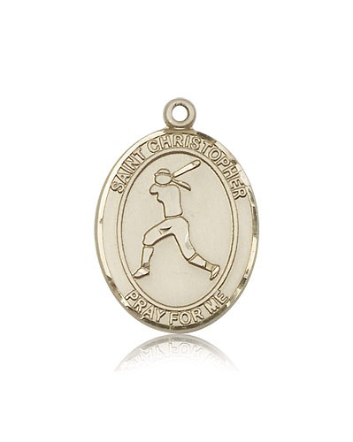 St. Christopher Softball Medal, 14 Karat Gold, Large - 14 KT Yellow Gold