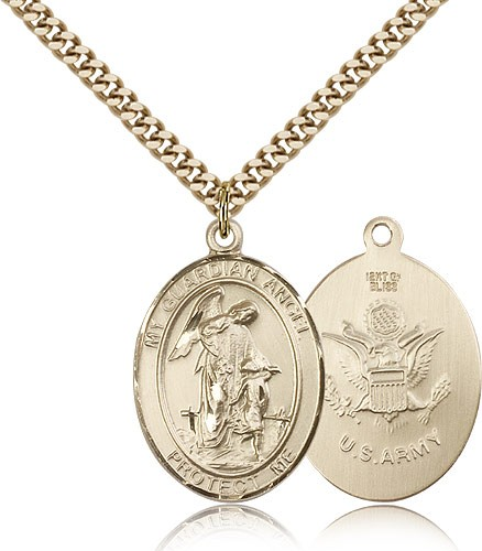 Guardian Angel Army Medal, Gold Filled, Large - Gold-tone