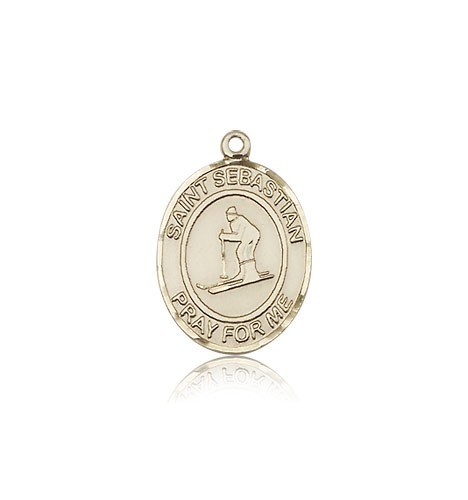 St. Sebastian Skiing Medal, 14 Karat Gold, Medium - 14 KT Yellow Gold