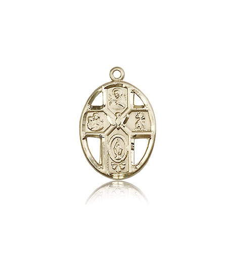 5 Way Cross Holy Spirit Medal, 14 Karat Gold - 14 KT Yellow Gold