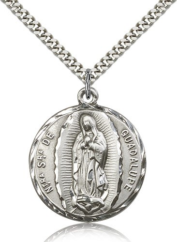 "Our Lady of Guadalupe Medal, Sterling Silver - 24"" 2.4mm Rhodium Plate Endless Chain"