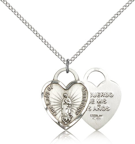 "Our Lady of Guadalupe Heart Recuerdo Medal, Sterling Silver - 18"" 1.2mm Sterling Silver Chain + Clasp"