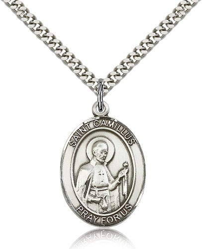 "St. Camillus of Lellis Medal, Sterling Silver, Large - 24"" 2.4mm Rhodium Plate Chain + Clasp"
