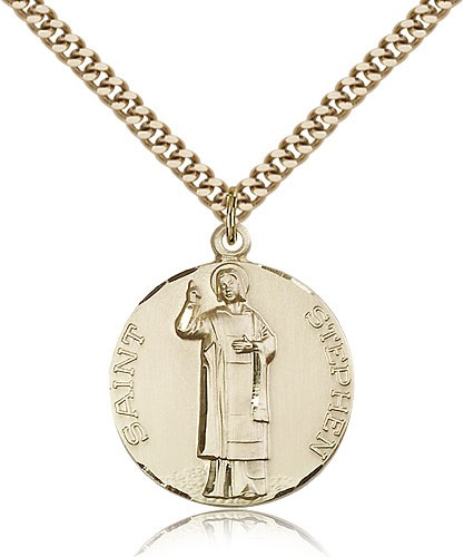 "St. Stephen Medal, Gold Filled - 24"" 2.4mm Gold Plated Endless Chain"