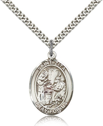 "St. Zita Medal, Sterling Silver, Large - 24"" 2.4mm Rhodium Plate Chain + Clasp"