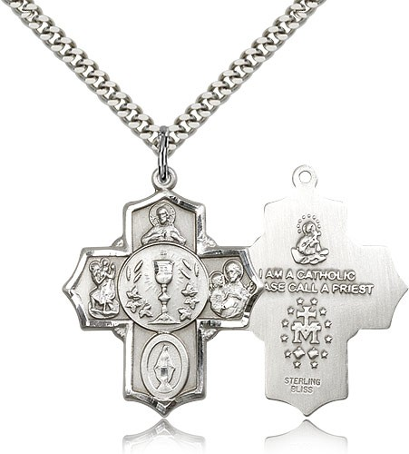 "5 Way Cross Pendant, Sterling Silver - 24"" 2.4mm Rhodium Plate Endless Chain"