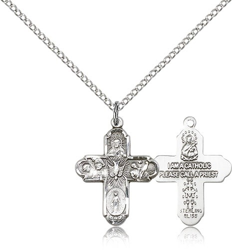 "5 Way Cross Pendant, Sterling Silver - 18"" 1.2mm Sterling Silver Chain + Clasp"
