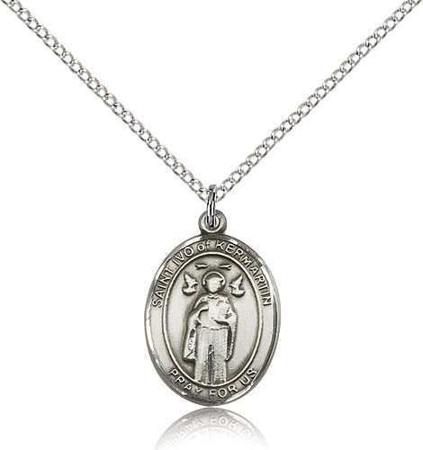 "St. Ivo Medal, Sterling Silver, Medium - 18"" 1.2mm Sterling Silver Chain + Clasp"