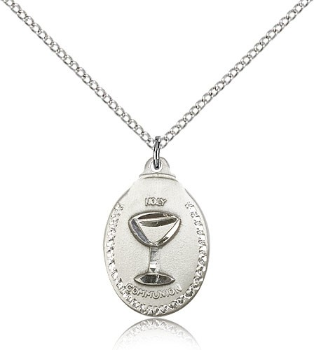 "Communion Medal, Sterling Silver - 18"" 1.2mm Sterling Silver Chain + Clasp"