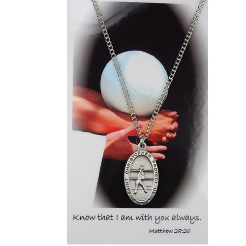 Girls St. Christopher Volleyball Medal and Prayer Card Set - Silver-tone