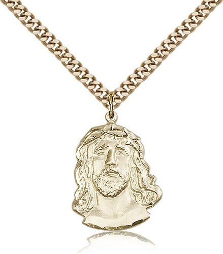 "Ecce Homo Medal, Gold Filled - 24"" 2.4mm Gold Plated Endless Chain"