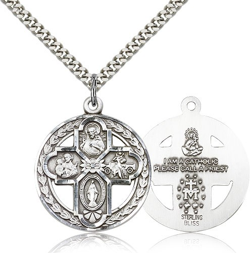 "4 Way Cross Pendant, Sterling Silver - 24"" 2.4mm Rhodium Plate Endless Chain"