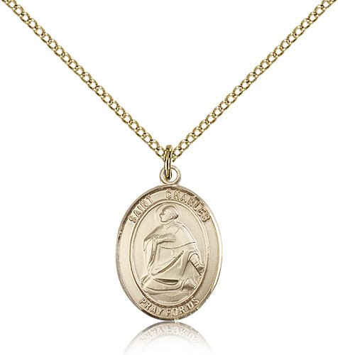 St. Charles Borromeo Medal, Gold Filled, Medium - Gold-tone