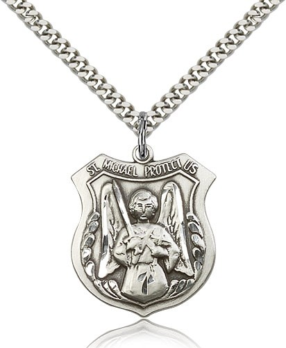 "St. Michael the Archangel Medal, Sterling Silver - 24"" 2.4mm Rhodium Plate Endless Chain"
