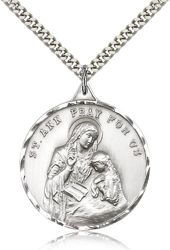 "St. Ann Medal, Sterling Silver - 24"" 2.4mm Rhodium Plate Endless Chain"