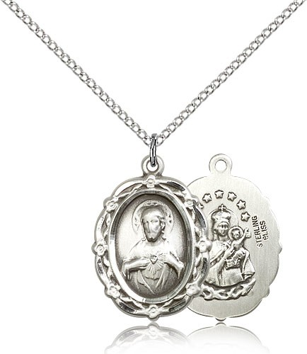 "Scapular Medal, Sterling Silver - 18"" 1.2mm Sterling Silver Chain + Clasp"
