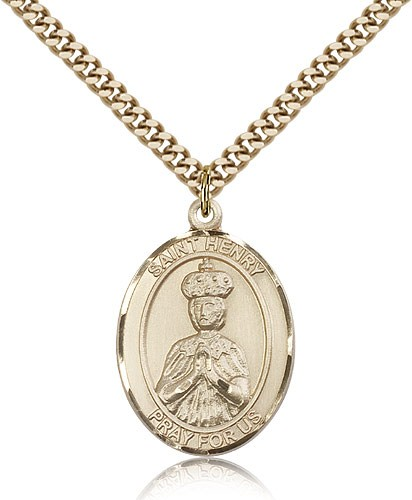 "St. Henry II Medal, Gold Filled, Large - 24"" 2.4mm Gold Plated Chain + Clasp"