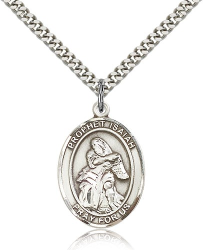 "St. Isaiah Medal, Sterling Silver, Large - 24"" 2.4mm Rhodium Plate Chain + Clasp"