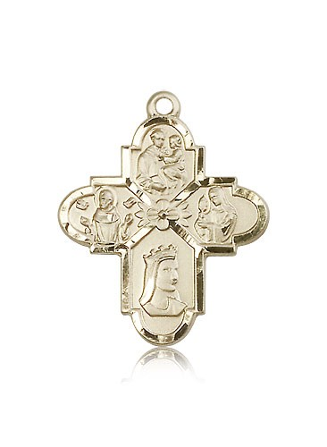 Franciscan 4 Way Cross Pendant, 14 Karat Gold - 14 KT Yellow Gold