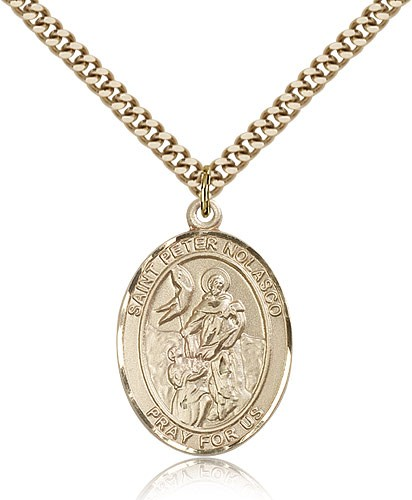 "St. Peter Nolasco Medal, Gold Filled, Large - 24"" 2.4mm Gold Plated Chain + Clasp"