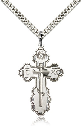 "St. Olga Cross Pendant, Sterling Silver - 24"" Rhodium Plate Endless Chain"