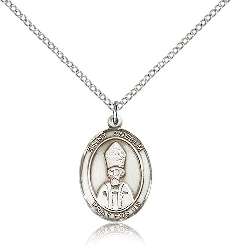 "St. Anselm of Canterbury Medal, Sterling Silver, Medium - 18"" 1.2mm Sterling Silver Chain + Clasp"
