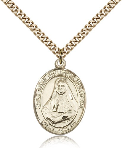 "St. Rose Philippine Medal, Gold Filled, Large - 24"" 2.4mm Gold Plated Chain + Clasp"