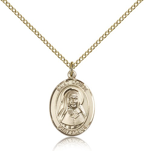 St. Louise De Marillac Medal, Gold Filled, Medium - Gold-tone