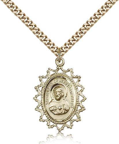"Scapular Medal, Gold Filled - 24"" 2.4mm Gold Plated Endless Chain"