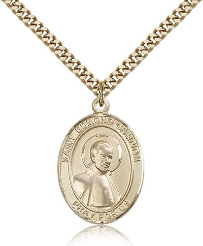 "St. Edmund Campion Medal, Gold Filled, Large - 24"" 2.4mm Gold Plated Chain + Clasp"