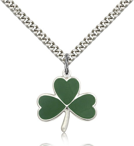 "Shamrock Medal, Sterling Silver - 24"" 2.4mm Rhodium Plate Endless Chain"