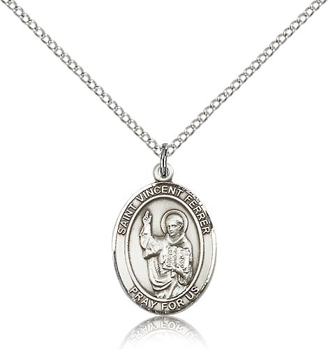 "St. Vincent Ferrer Medal, Sterling Silver, Medium - 18"" 1.2mm Sterling Silver Chain + Clasp"