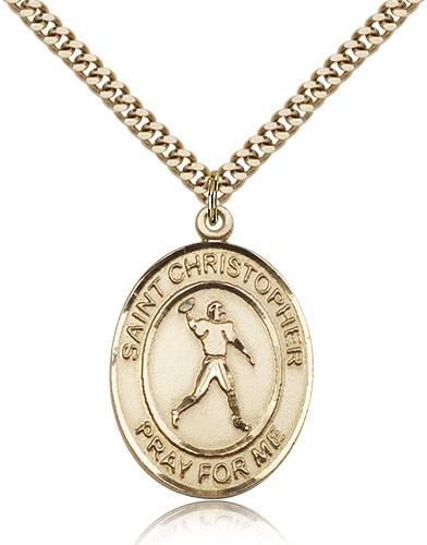 "St. Christopher Football Medal, Gold Filled, Large - 24"" 2.4mm Gold Plated Chain + Clasp"