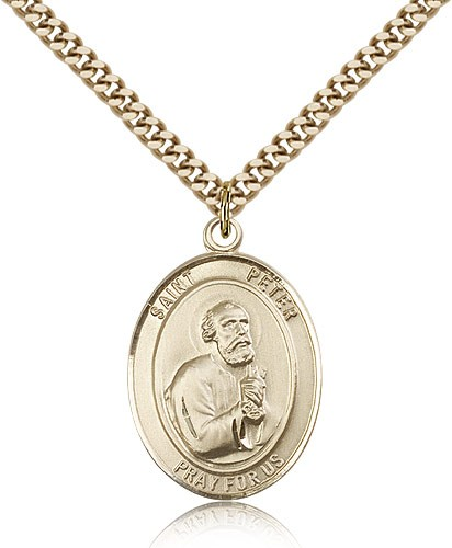 "St. Peter the Apostle Medal, Gold Filled, Large - 24"" 2.4mm Gold Plated Chain + Clasp"