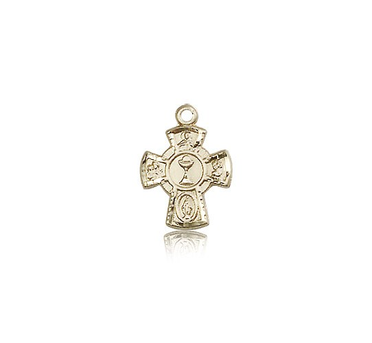 5 Way Cross Chalice Medal, 14 Karat Gold - 14 KT Yellow Gold