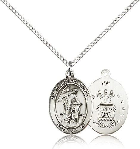 "Guardian Angel Air Force Medal, Sterling Silver, Medium - 18"" 1.2mm Sterling Silver Chain + Clasp"